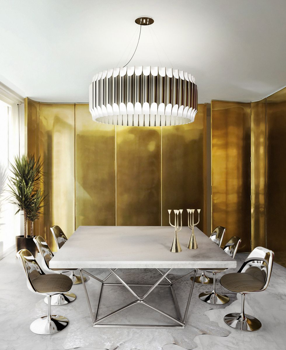 Galliano Unique Ceiling Lamp Contemporary Chandelier, Gold And White Dining  Room, Chic Interior Decor