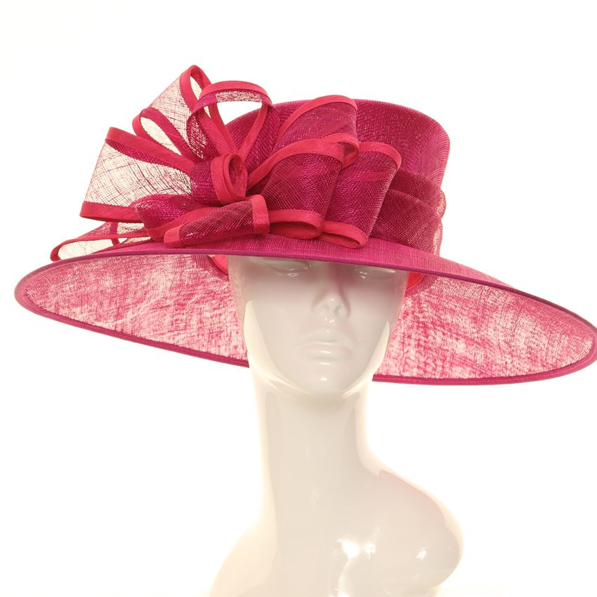 Wedding Hat - Raspberry Bow Large Brim Sinamay  8c61c25d5460