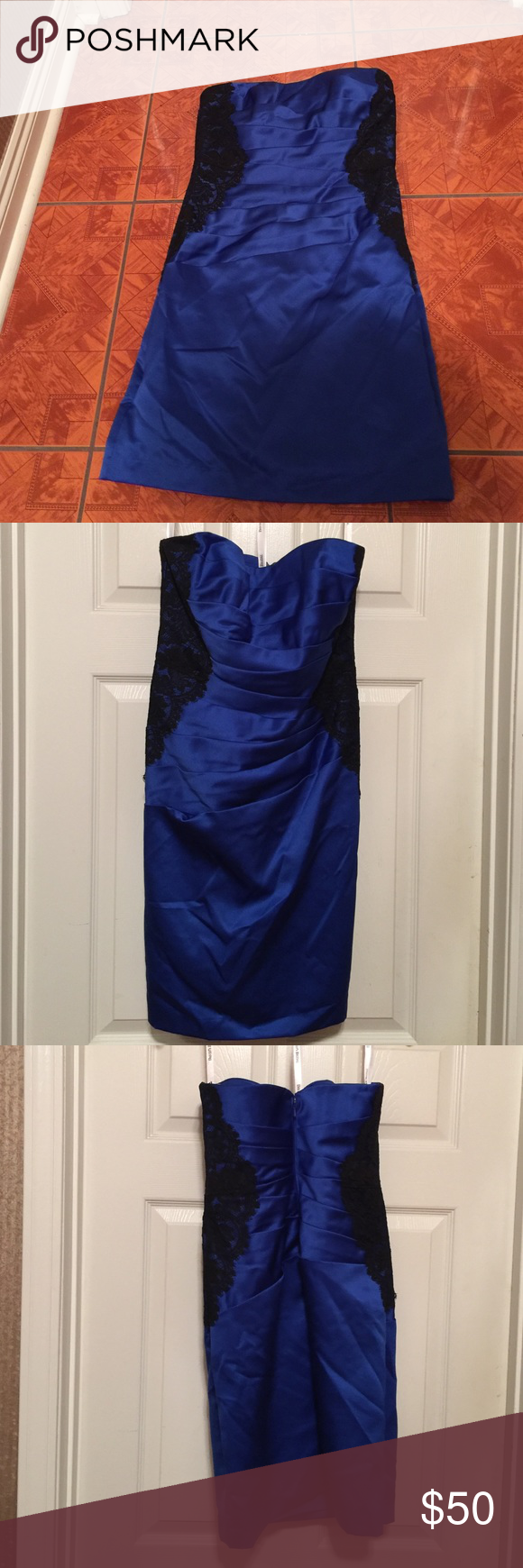 Lace & Satin Strapless Formal Stunning formal with a figure flattering silhouette. Boning on the bodice for a secure tailored fit. 🚩PLEASE COMPARE YOUR MEASUREMENTS TO THE SIZE CHART PRIOR TO PURCHASING🚩 Dresses Strapless