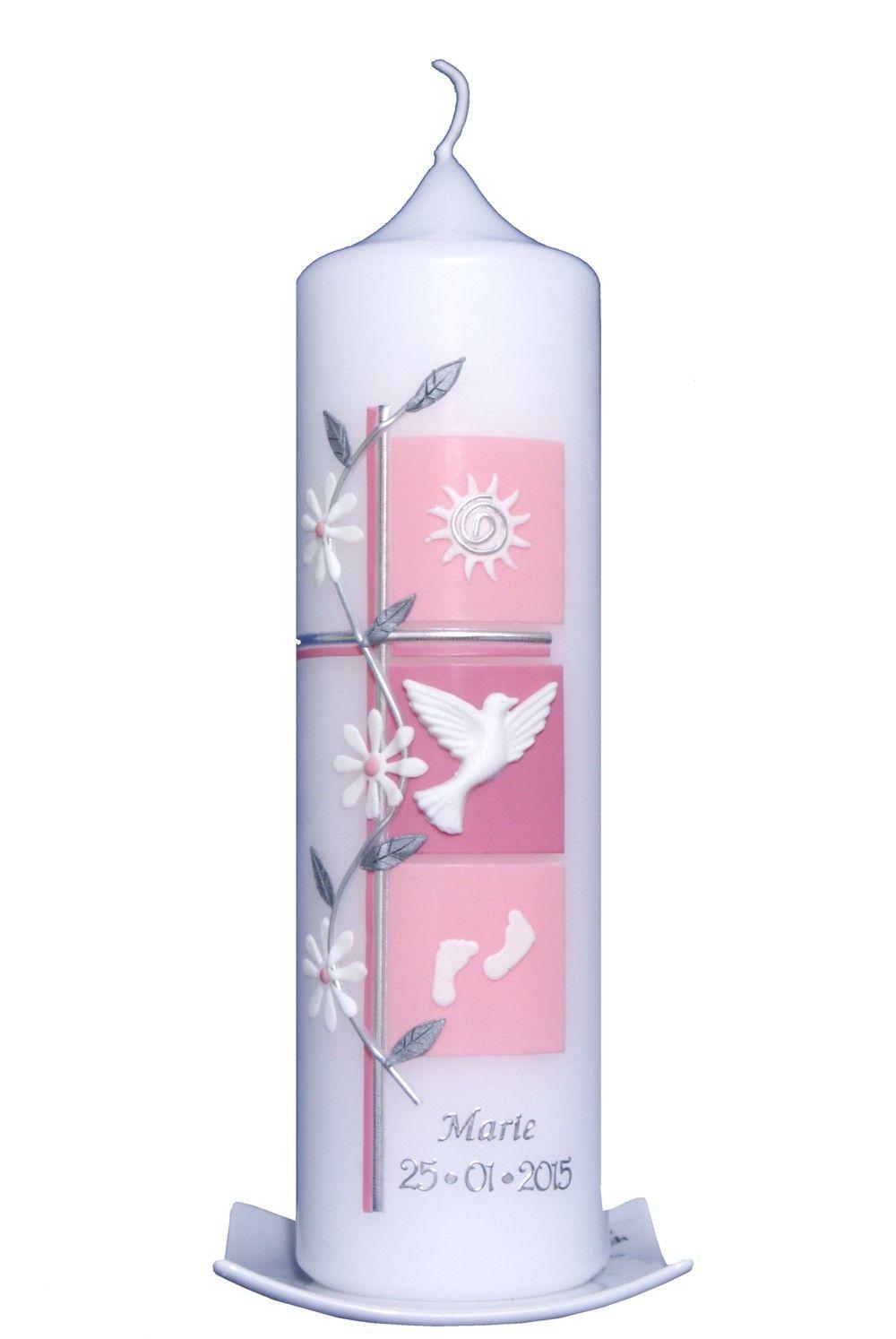 Taufkerze Kreuz pink silber Wachsverzierung Taufkerze Mädchen mit Name und Datum