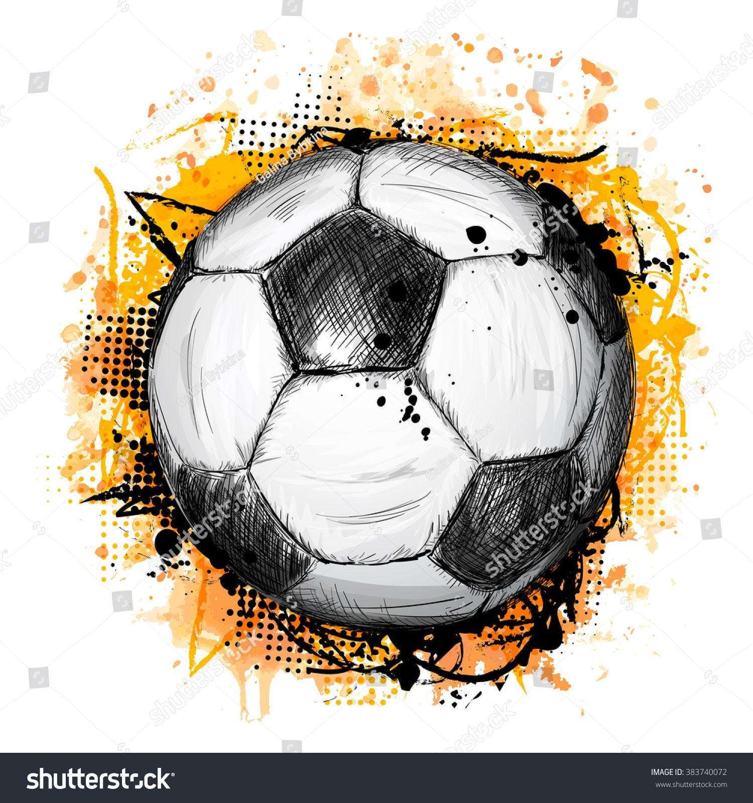 Hand Drawn Vector Illustration With Soccer Or Football Ball Grunge Composition And Orange Hand Drawn Vector Illustrations How To Draw Hands Hand Drawn Vector