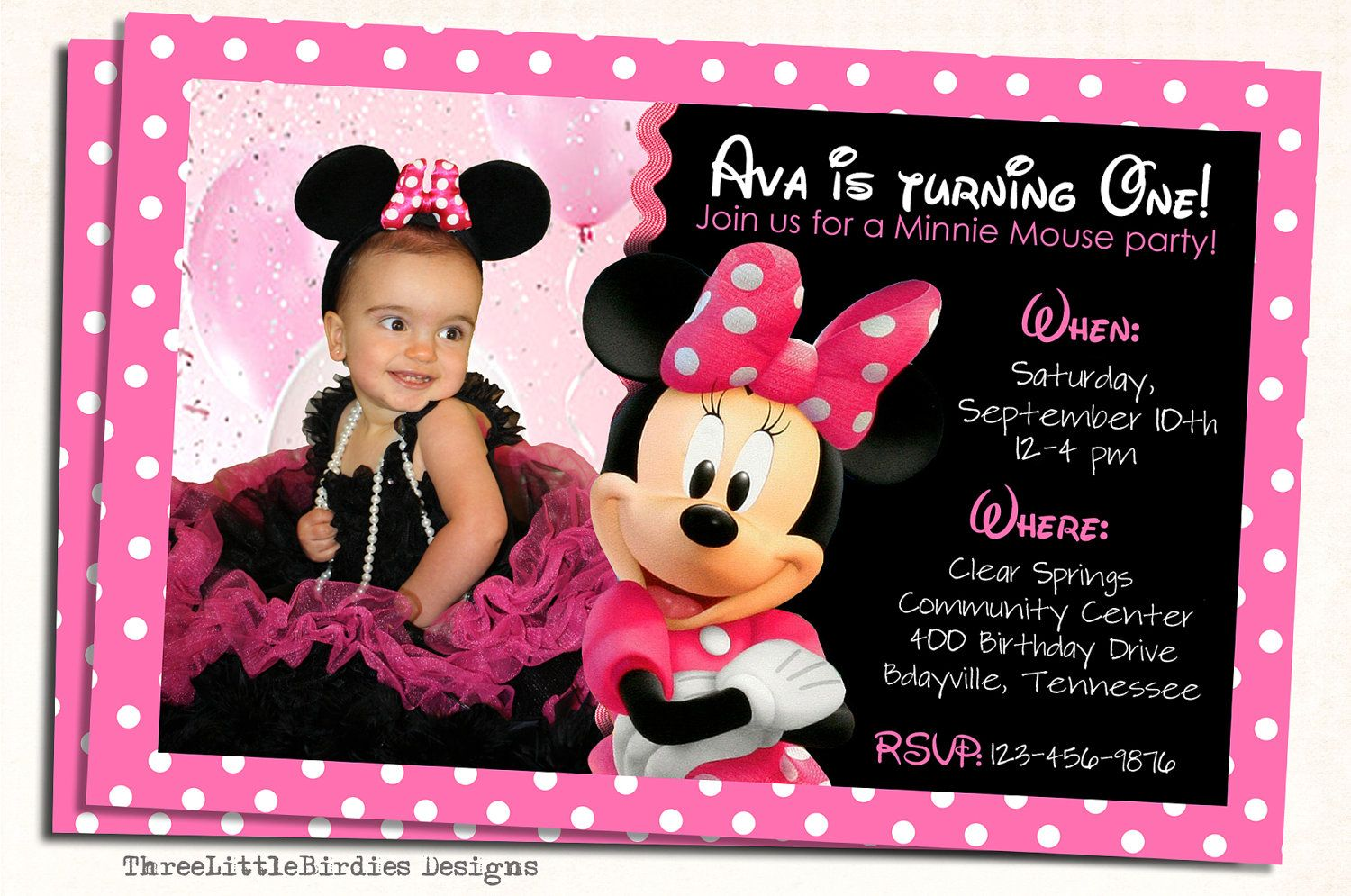 Minnie mouse birthday invitation minnie mouse birthday invitations minnie mouse birthday invitation filmwisefo Choice Image