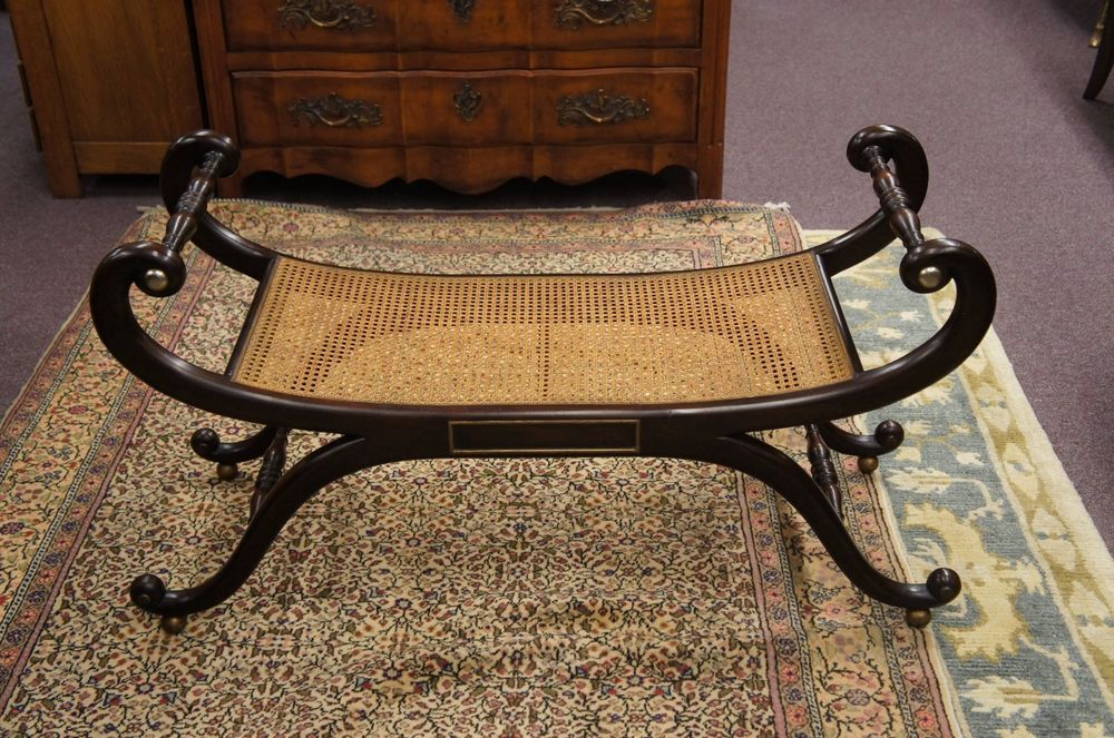 Pleasing French Empire Style Signed Baker Furniture Bench Cane Seat Machost Co Dining Chair Design Ideas Machostcouk