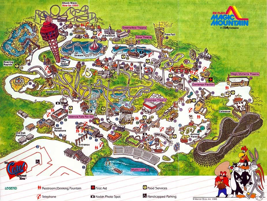 Six Flags Magic Mountain - 1986 | Theme Park Maps... | Theme ... on woodley park map, cedar point park map, red mountain park map, hurricane harbor valencia map, six flags park map, point reyes park map, six flags valencia map, san francisco park map, mammoth mountain park map, magic park california, copper mountain park map, six flags new england map, magic midway map, san diego park map,