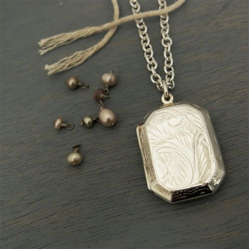 Large Engraved Sterling Silver Rectangle Locket Engraved Locket Locket Sterling Silver Locket