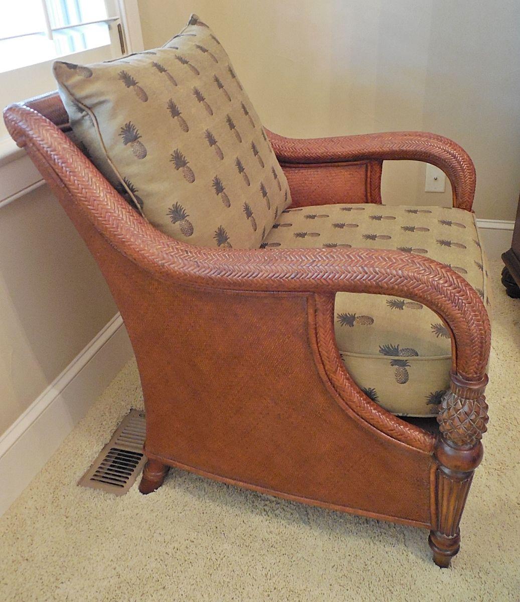 Genial Jabberwocky Sales   Ethan Allen Palm Grove Rattan Chair With Custom  Pineapple Fabric   Like New