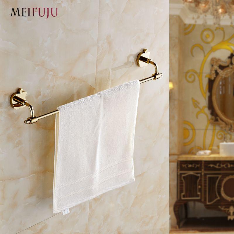 Luxury Bathroom Accessories Golden Single Towel Bars Hotel Towel ...