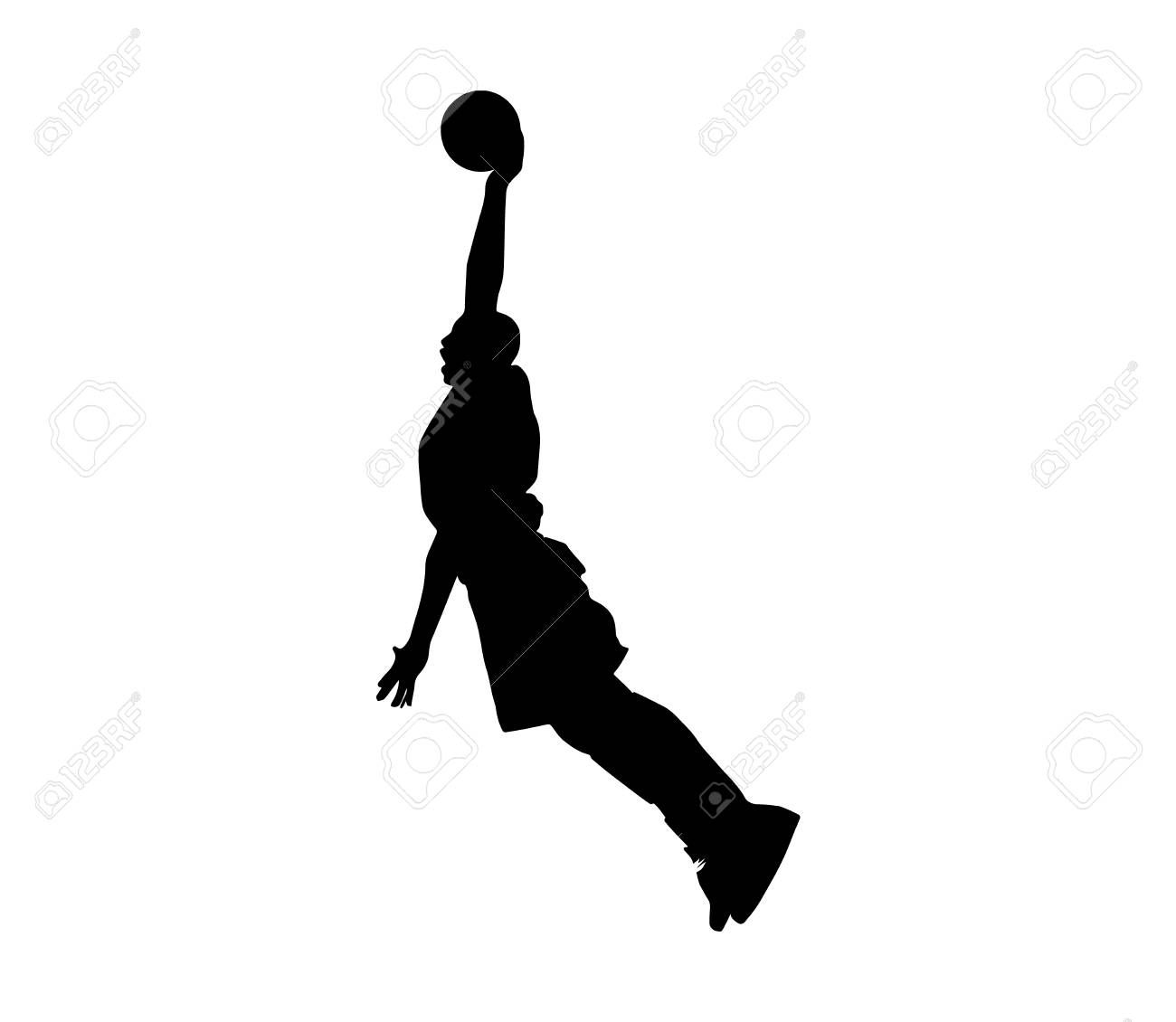 Basketball Player Slam Dunk Black Silhouette On White Background Sponsored Slam Dunk Basketball Playe Black Silhouette Silhouette Basketball Players