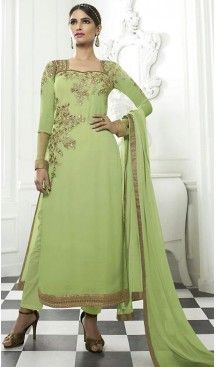 fd7693f52dc Parrot Green Color Georgette Pakistani Style Stitched Kameez and Narrow  Pant  pakistani