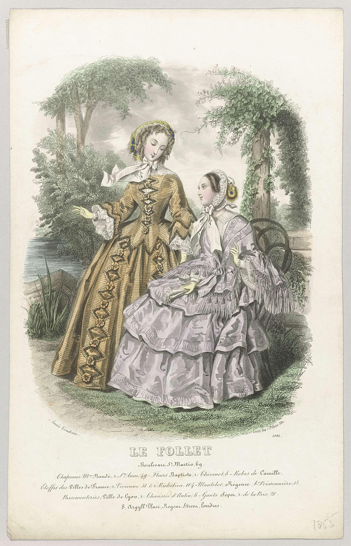 Anonymous | Le Follet, 1855, No. 1986 : Chapeaux Mme Naudé..., Anonymous, A. Leroy, 1855 | Twee vrouwen bij een vijver. Onder de voorstelling enkele regels reclametekst voor verschillende producten. Prent uit het modetijdschrift Le Follet Courrier des Salons (novembre 1829- octobre 1882).