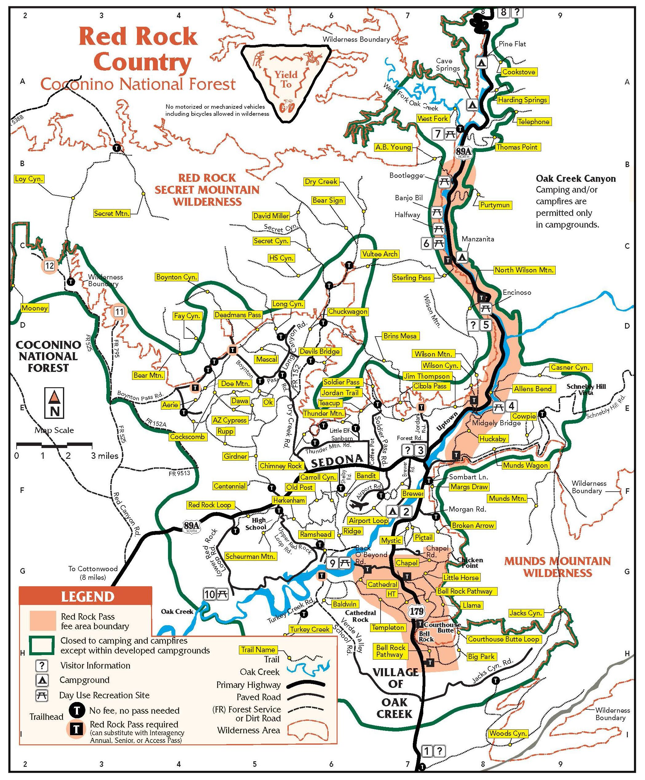 map of sedona arizona area hiking 365 Things To Do In Sedona AZ