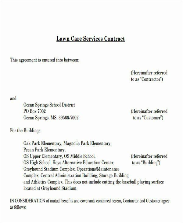 Lawn Service Contract Template Awesome 9 Service Contract ...