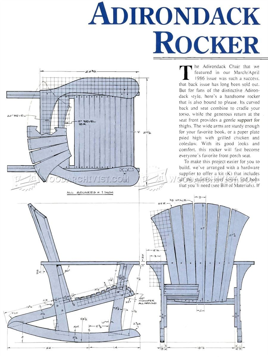1860 Adirondack Rocking Chair Plans - Outdoor Furniture Plans | Diy ...