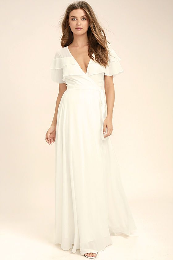 1a8273c8b1034 The birds will sing your praises when you glide by in the Wonderful Day White  Wrap Maxi Dress! Sheer Georgette forms ruffled short sleeves, wrapping  bodice ...