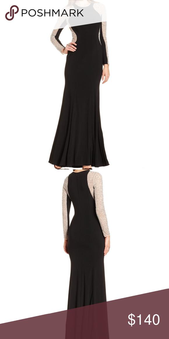 Xscape Black Bead Illusion Sleeve Jersey Gown 18W | My Posh Closet ...