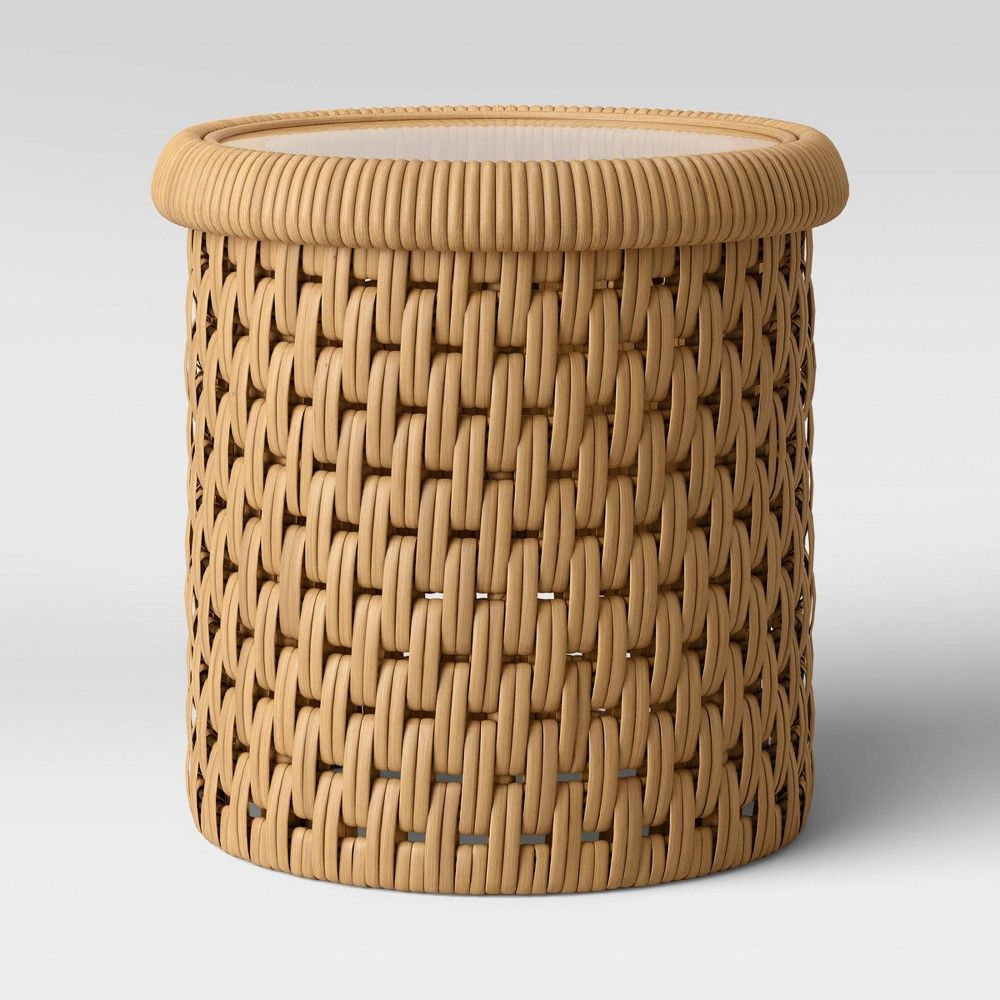 Leona Round Rattan Accent Table With Glass Top Natural Opalhouse In 2020 Rattan Round Accent Table Table