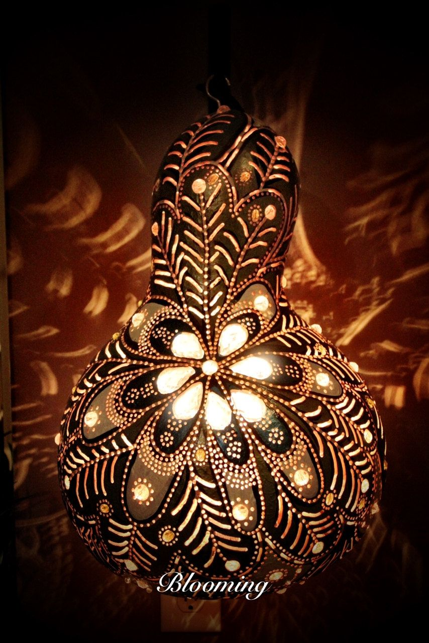 gourd art lamp Google Search Craft Ideas Pinterest Gourds
