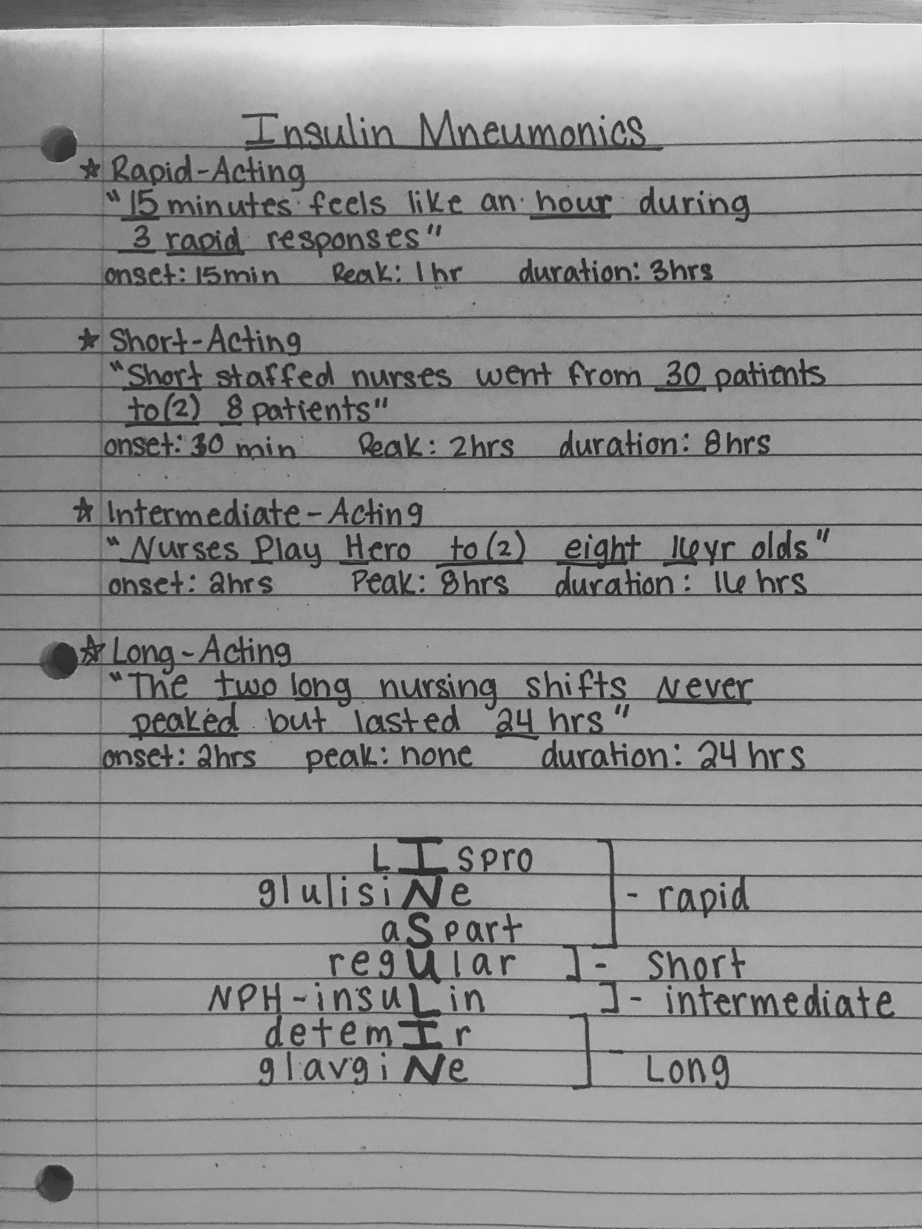 Insulin Mnemonics | Nursing school | Nursing school notes
