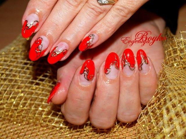 evgeniya 39 s k nstliche fingern gel muster rot gold nageldesign bilder by world nails nailart. Black Bedroom Furniture Sets. Home Design Ideas
