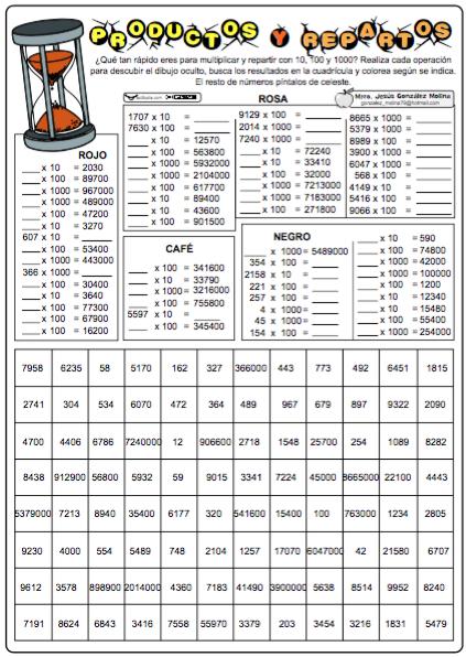 Productos Y Repartos Con 10 100 1000 Unidad Seguida De Ceros Actividades De Multiplicacion Actividades De Matematicas
