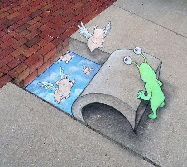 Chalk Street Art By David Zinn David Zinn Street Art And Street - David zinns 3d chalk art adorably creative
