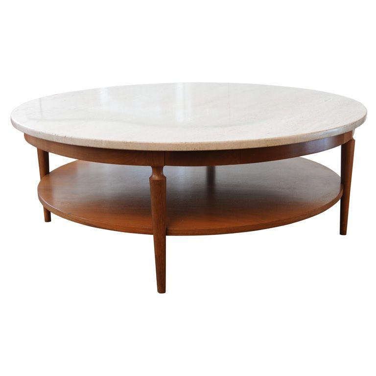 Mid Century Italian Travertine Marble And Teak Coffee Table