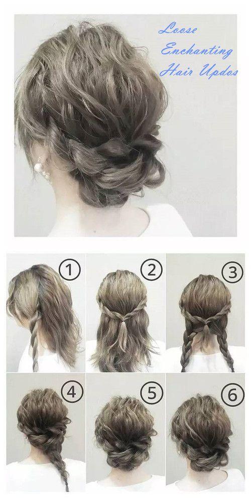 Loose Enchanting Hair Updos Hair Updos Tutorials Hair Styles Curly Hair Updo