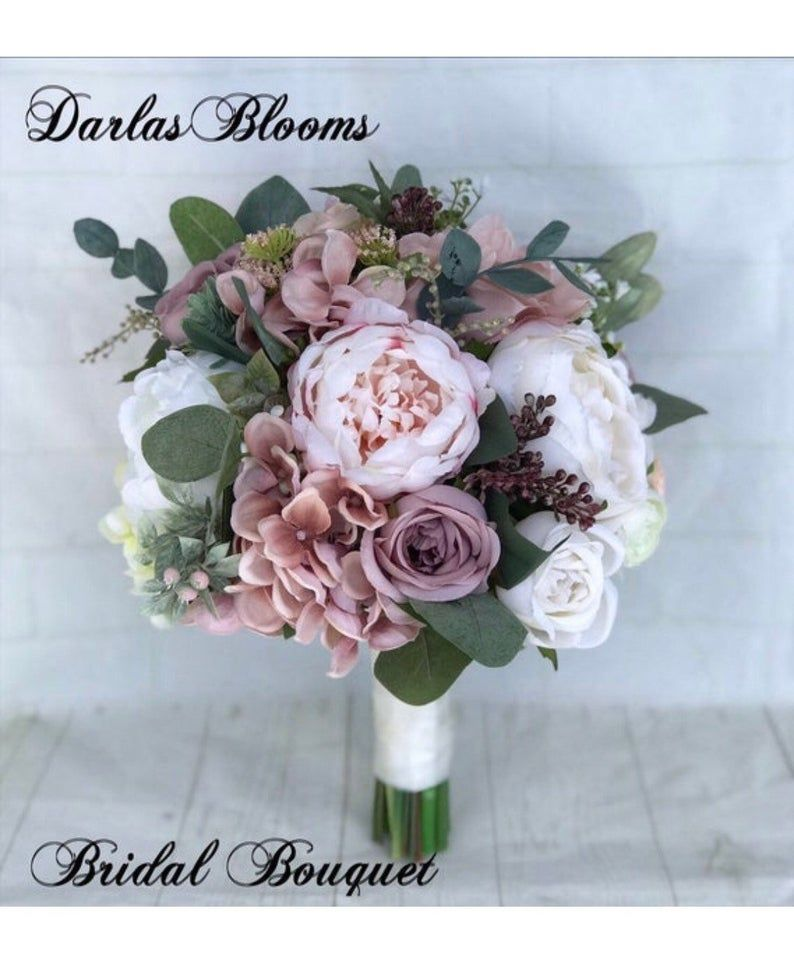 Wedding bouquet, Dusty Rose Bridal bouquet, Cascade bouquet, Blush Wedding bouquet, Mauve/Dusty Rose Wedding flowers, Silk Bridal bouquet
