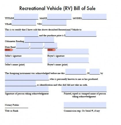 Printable Sample Bill of sale camper Form Forms and Template - contract for car sale