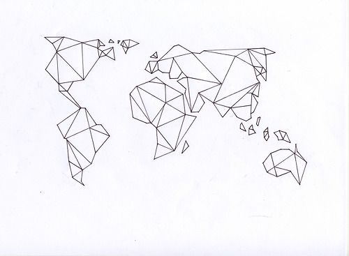 World map inspiration pinterest geometric tattoos tattoo this would be a sweet travellers tattoo do the map of the world like this and then wherever you go you get a dot tattooed on the map gumiabroncs Images