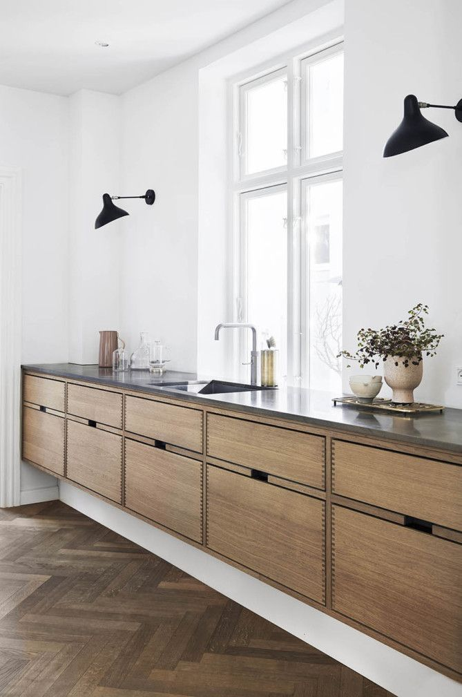 Herringbone floors and flat front cabinets #FluidRetroHomeDecorKitchen #remodelingorroomdesign
