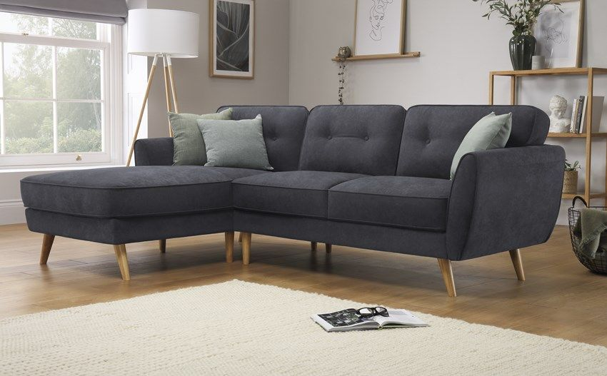 Harlow Slate Grey Plush Fabric L Shape Corner Sofa Lhf Only 699 99 Furniture Choice 760545455806056741 Corner Sofa Living Room Corner Sofa Furniture Choice