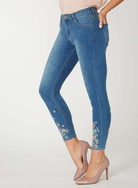 With Credit Card Sale Online Womens Floral Hem Darcy Skinny Jeans Dorothy Perkins Petite Manchester For Sale 2018 Online jdv1HdMP