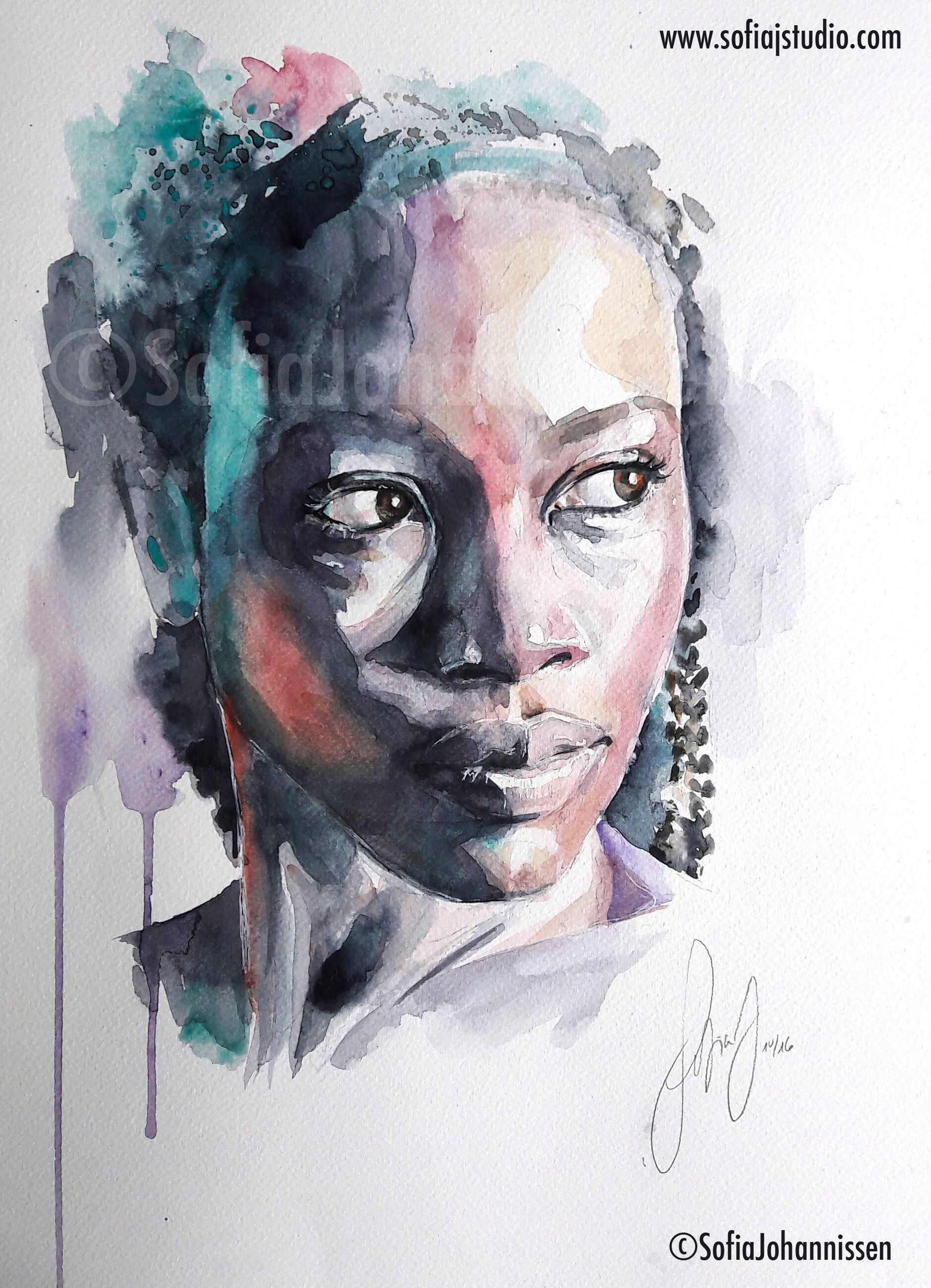Mademoiselle Watercolor By Sofia Johannissen Afrique Art