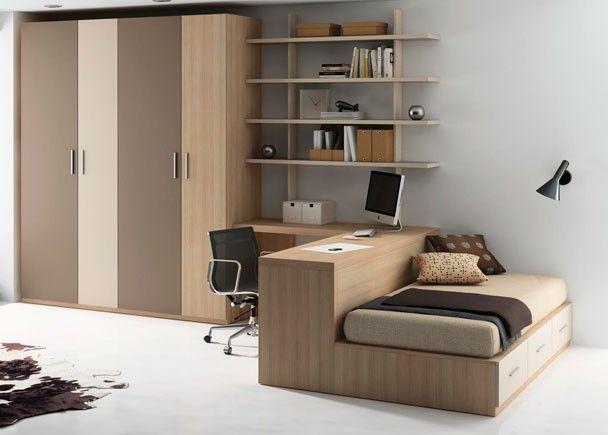 Dormitorio juvenil cama con cajones y zona independiente for Escritorio para dormitorio juvenil