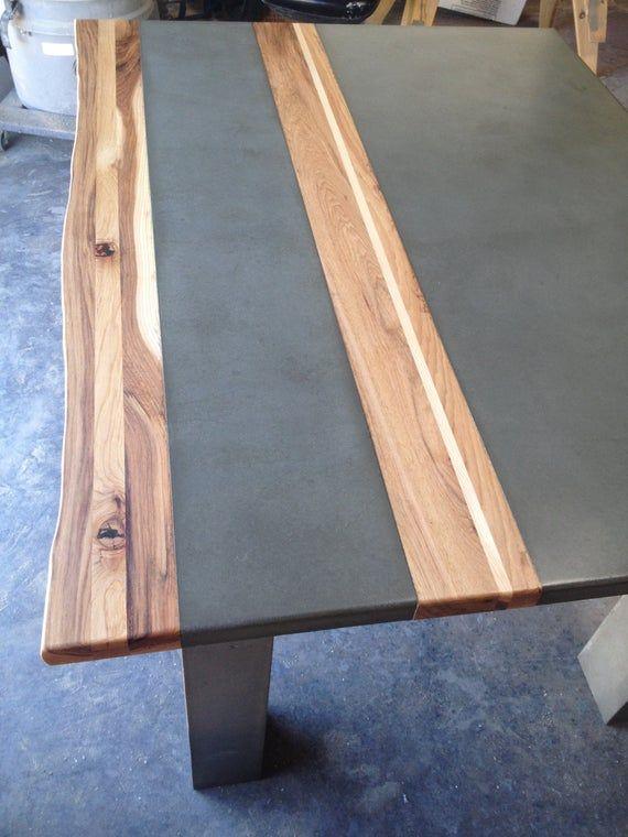 Beton Holz Stahl Esstisch Küchentisch Holz Stahl