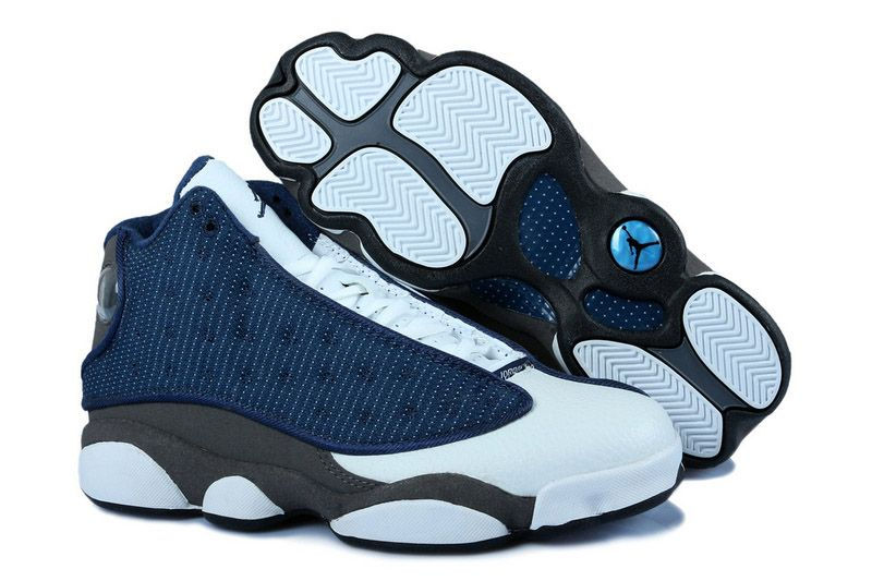 8e348261fc3b65 Mens Air Jordan 13 Mineral Blue Gray   Snug Shoe