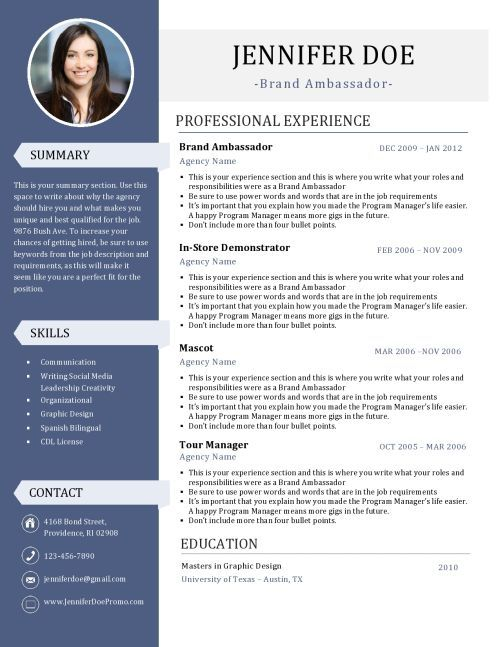 Resume Designs Template, Cv template and Resume cv - brand representative sample resume