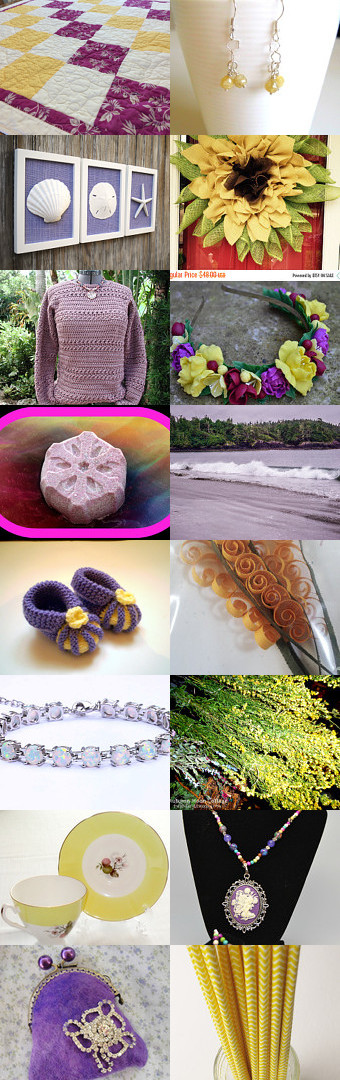 yellow and purple beauties by Helen on Etsy--Pinned with TreasuryPin.com