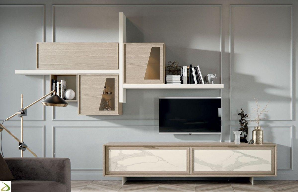 Parete soggiorno classica moderna in legno massello | Soggiorni ...