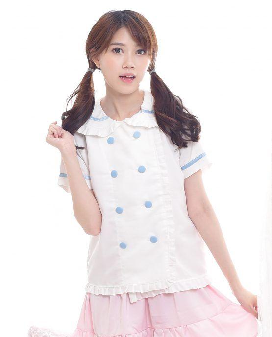 34a37450cb26b Cute kawaii white sailor collar shirt with pastel color double button.  Asian fashion