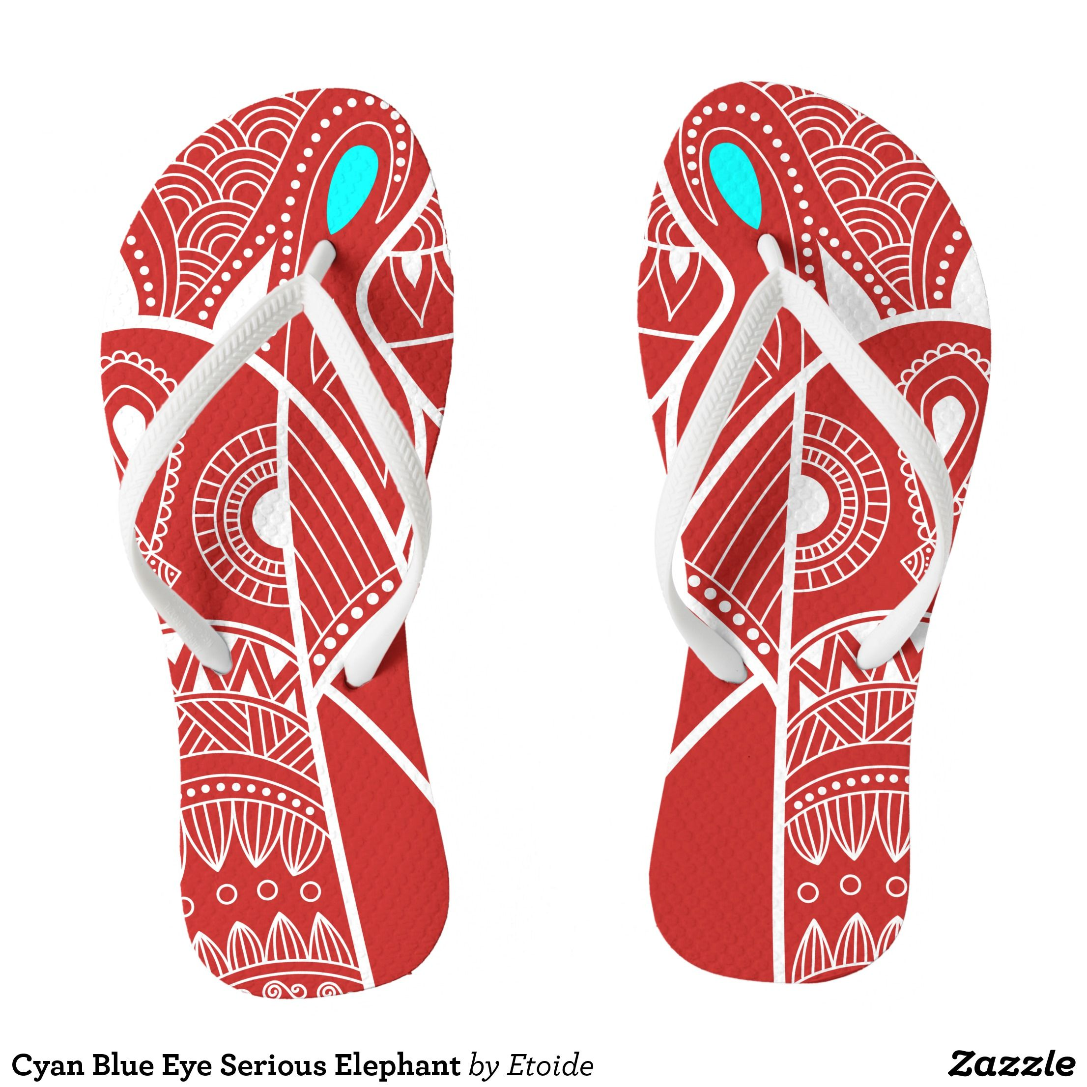 Cyan Blue Eye Serious Elephant Flip Flops Durable Style Hawaiian Beach Sandals By Talented Fashion Graphic Designers Flipflops Hawaii