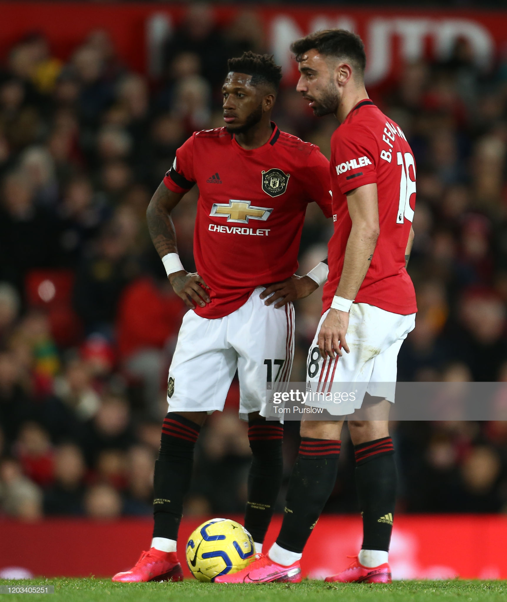 Bruno Fernandes And Fred Of Manchester United Discuss A Free Kick In 2020 Manchester United Fans Manchester United Legends Manchester United