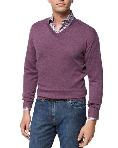 Peter Millar Crown Soft Cotton V-Neck Sweater, Blackberry ...