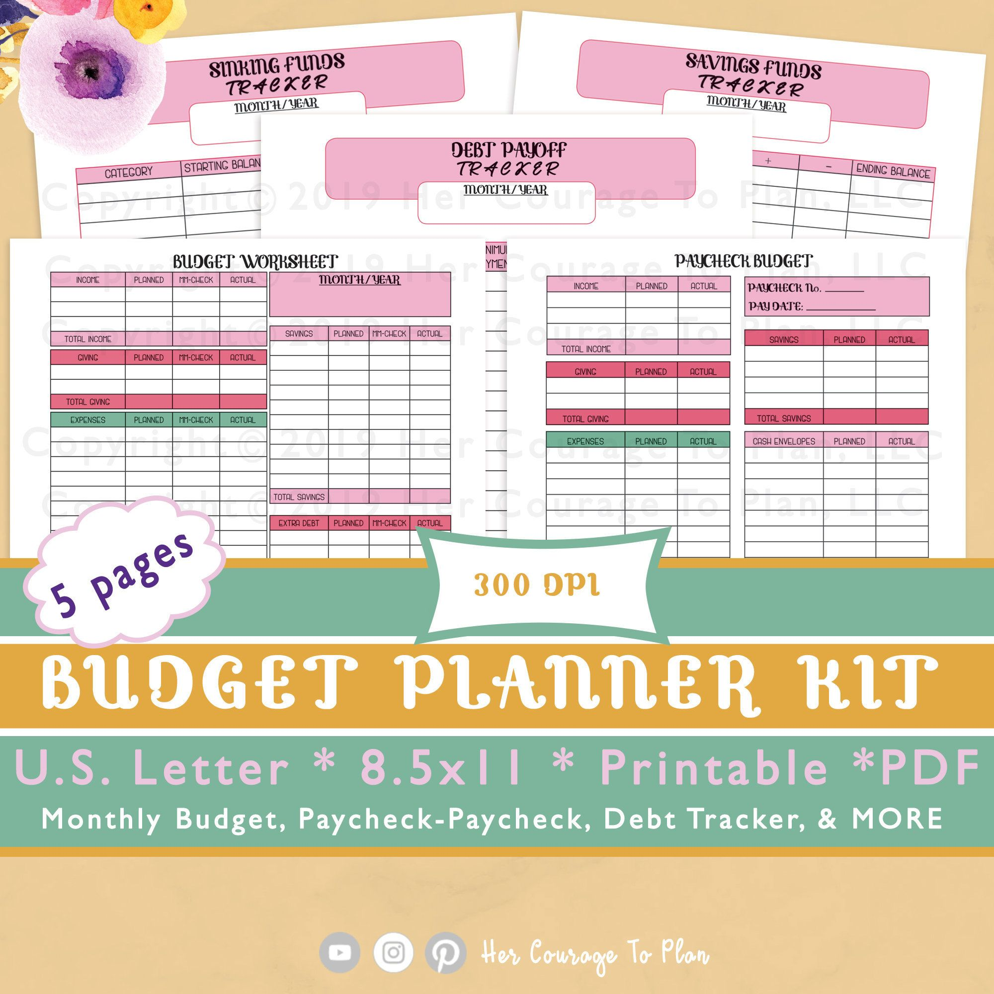 Budget Worksheets Kit Stickers Colorful 5 Pages Bill
