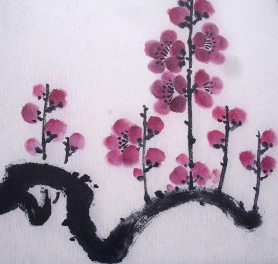 Fleurs cerisier japonais peinture encre de chine pinterest fleur cerisier cerisier - Dessin arbre japonais ...