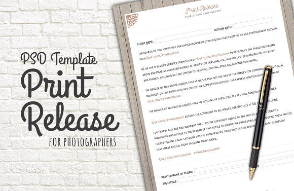 Photo Print Release Form Template By Studio On Creativemarket