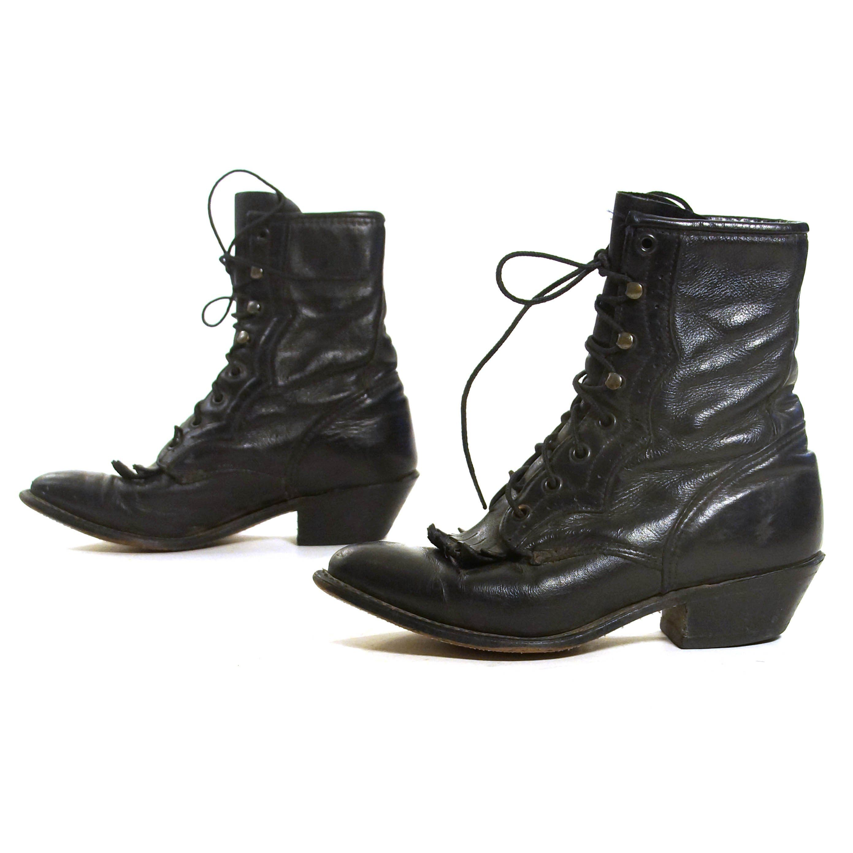68831fdeadd0b Durango Lace Up Ropers Vintage 80s Black Leather Ankle Boots Packer ...