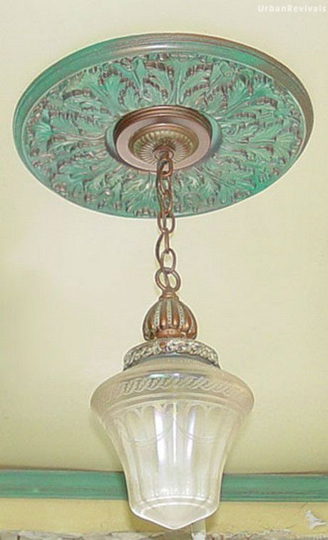 Verdigris Ceiling Medallion Complete Patina Created On A White