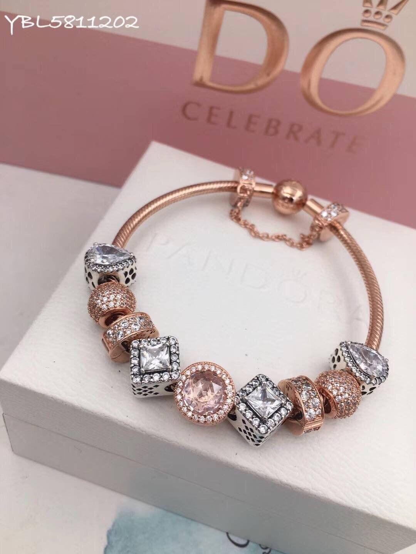 Pandora rose gold charm bracelet pcs charms two tone beauty